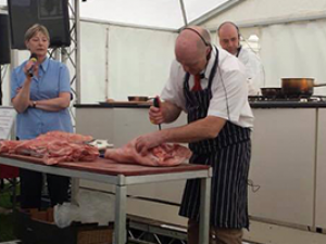 Butchery demonstration at Monmouthshire Food Festival